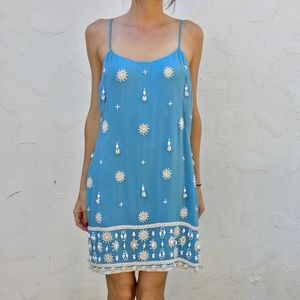 (French Connection) Baby Blue Beaded Mini Dress